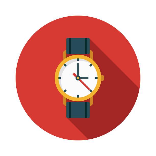 bildbanksillustrationer, clip art samt tecknat material och ikoner med titta på platt design schweiz ikonen - armbandsur
