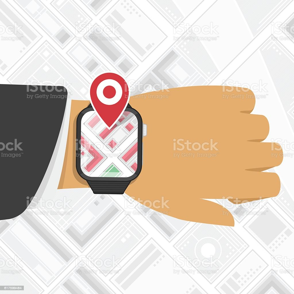 Watch GPS mark on the map background. vector art illustration