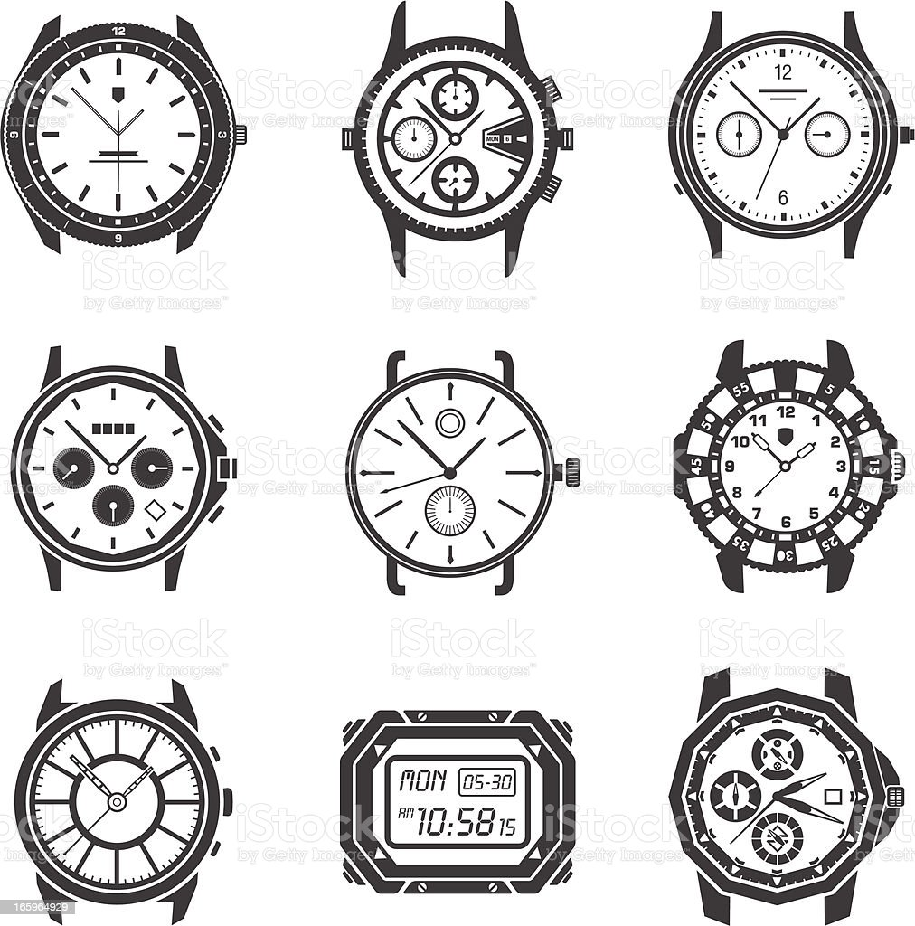 Watch Icons vector art illustration