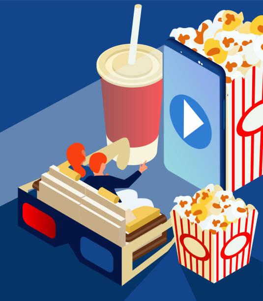 film online zu hause. herunterladen oder einen film über ihr smartphone. home entertainment-system mit popcorn und cola. ein mann und eine frau sitzen auf der couch vor dem film. isometrischen 3d, wohnung - funktionssofa stock-grafiken, -clipart, -cartoons und -symbole