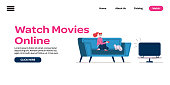 Watch movies online - flat banner with cartoon woman watching TV sitting on sofa with cat. Single girl streaming films at home, landing page template vector illustration.