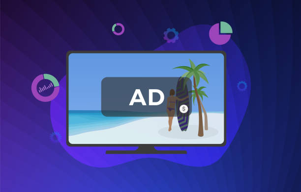 watch movies online is interrupted by advertising concept. television shows with multimedia targeted tv marketing and addressable video broadcasting advertising - addressable stock illustrations