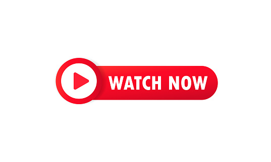 Watch now button. For website, media player, banner and app. Vector on isolated white background. EPS 10.