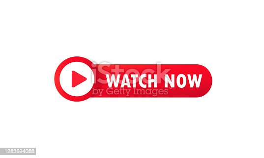 istock Watch now button. For website, media player, banner and app. Vector on isolated white background. EPS 10 1283694088