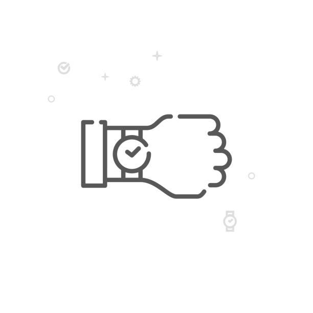 bildbanksillustrationer, clip art samt tecknat material och ikoner med titta å vektor linje-ikonen, symbol, piktogram, sign. ljus abstrakt geometrisk bakgrund. redigerbara stroke - armbandsur