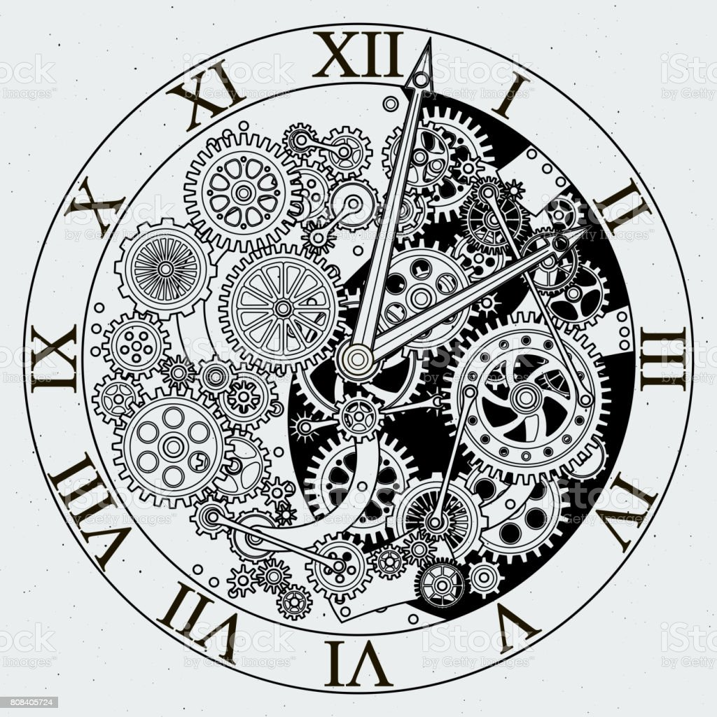 Watch parts. Clock mechanism with cogwheels. Vector illustrations vector art illustration