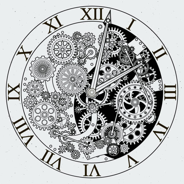 Watch parts. Clock mechanism with cogwheels. Vector illustrations vector art illustration