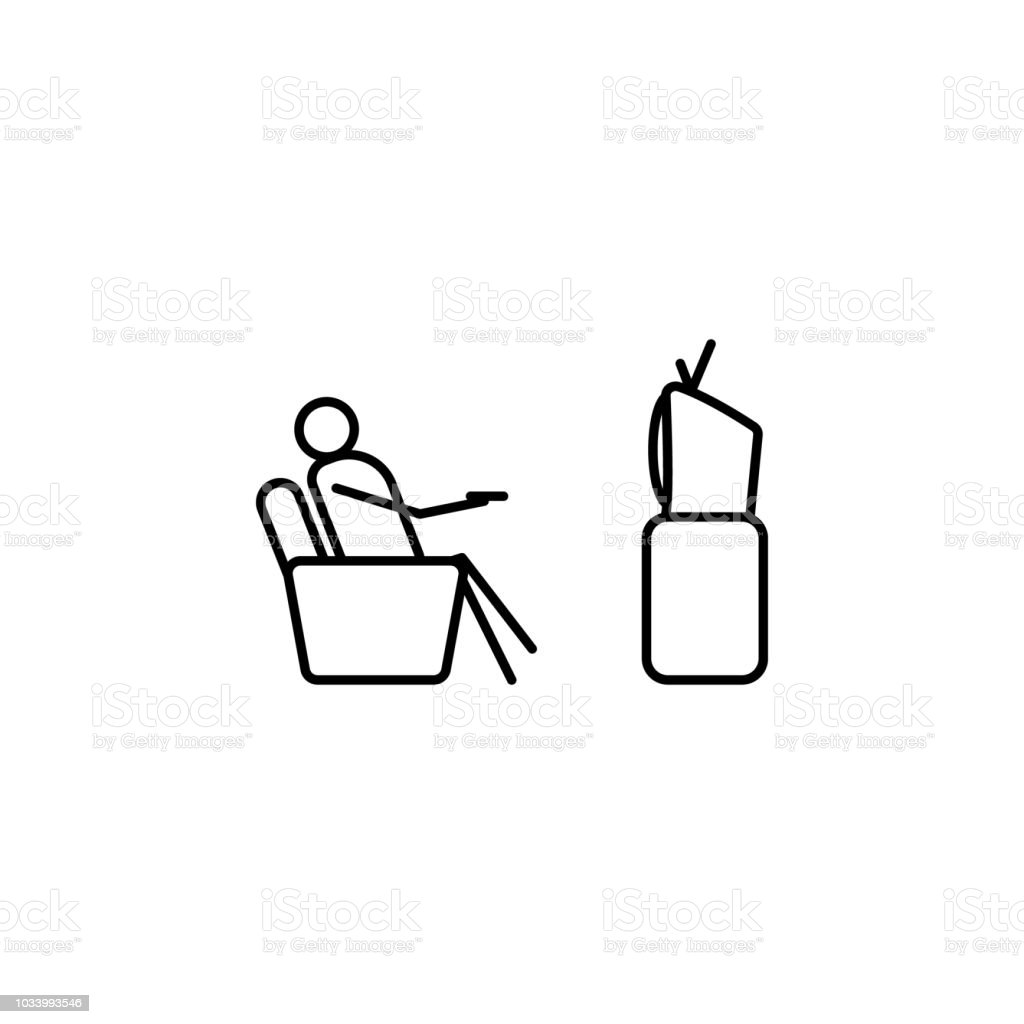 Watch Tv On Couch Outline Icon Element Of Lazy Person Icon For