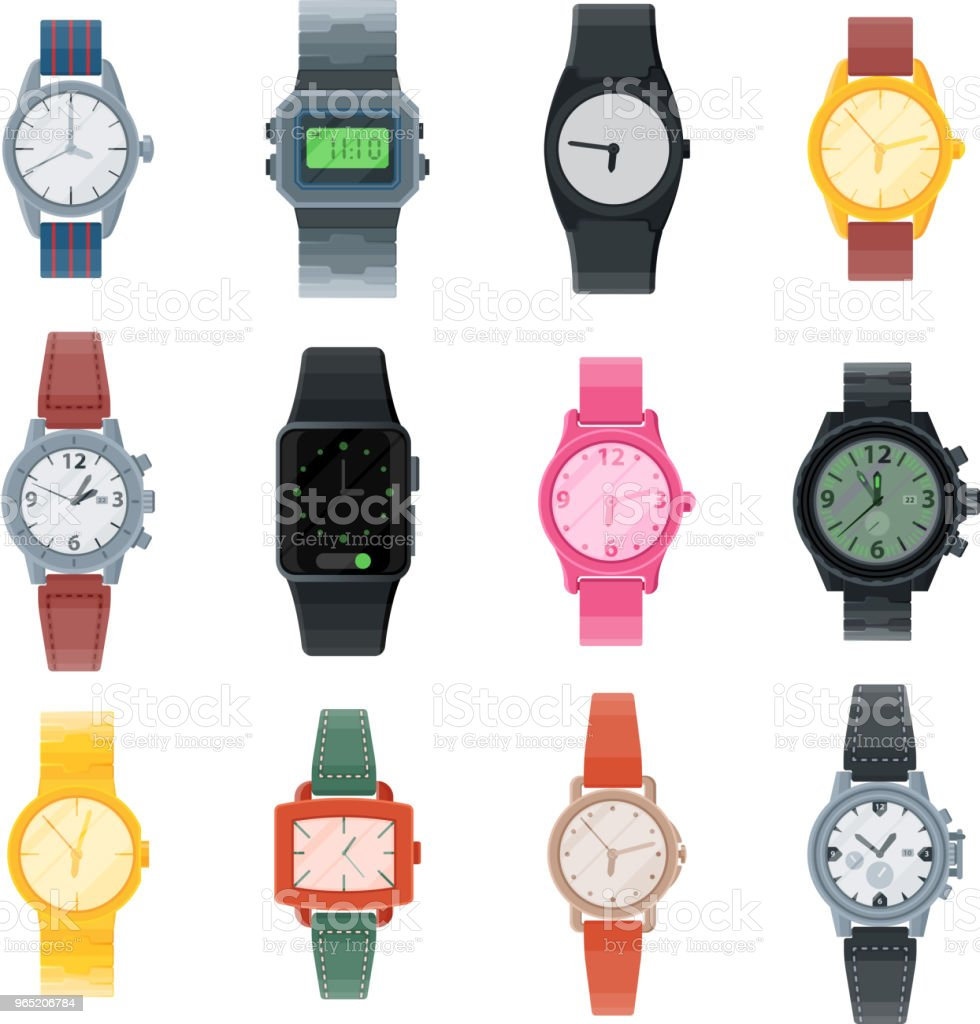 Watch vector business wristwatch or fashion wrist clock with clockwork and clockface clocked in time with hour or minute arrows illustration set of clocking alarm timer isolated on white background royalty-free watch vector business wristwatch or fashion wrist clock with clockwork and clockface clocked in time with hour or minute arrows illustration set of clocking alarm timer isolated on white background stock vector art & more images of backgrounds
