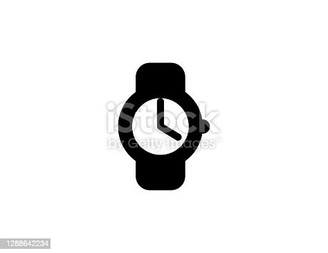istock Watch vector icon. Isolated Wrist Watch black symbol - Vector 1288642234