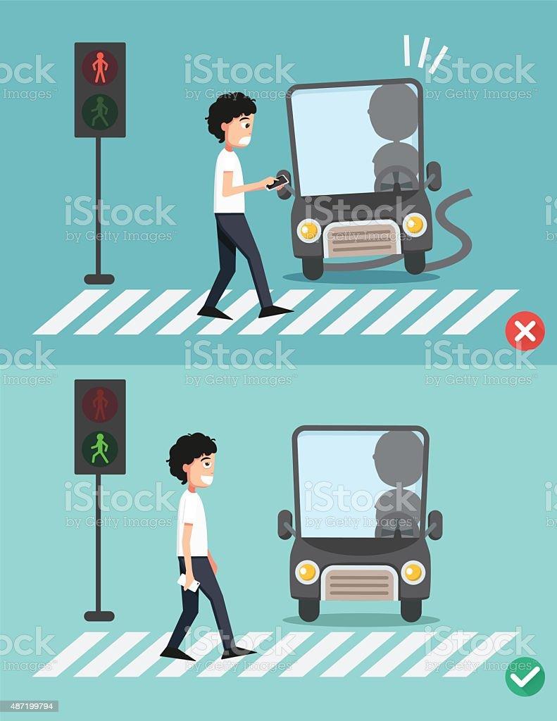 watch your step.men on the crosswalk vector art illustration