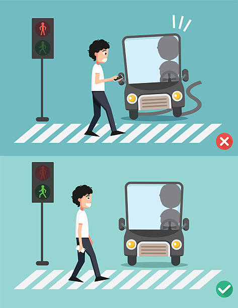 watch your step.men on the crosswalk - crossing stock illustrations, clip art, cartoons, & icons