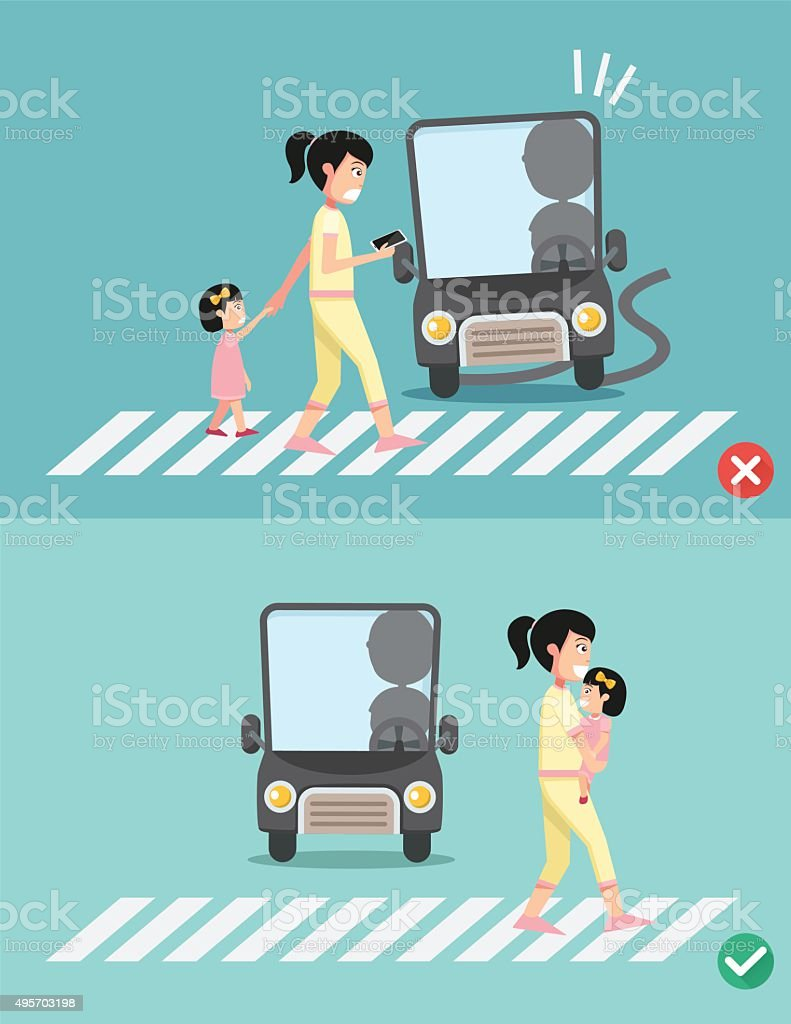 watch your step.women with child on the crosswalk vector art illustration