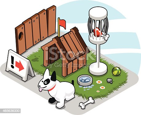 Bullterrier watchdog sitting in front of his dog kennel in a backyard. Isometric illustration.