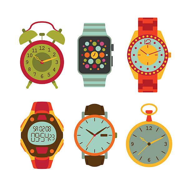 bildbanksillustrationer, clip art samt tecknat material och ikoner med watches flat set. colorful vector illustration. - armbandsur