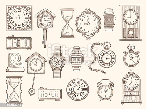 Watches set. Drawing clocks timers alarms vector pictures collection. Timer and watch, alarm clock drawing, doodle stopwatch sketch illustration