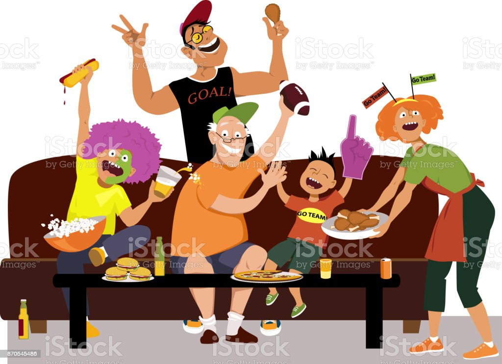 Watching Super Bowl with family vector art illustration