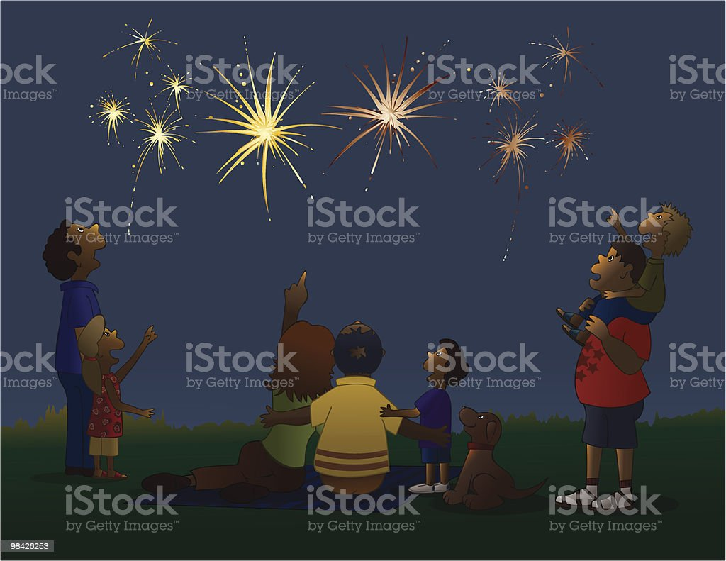 Watching Fireworks royalty-free watching fireworks stock vector art & more images of american culture
