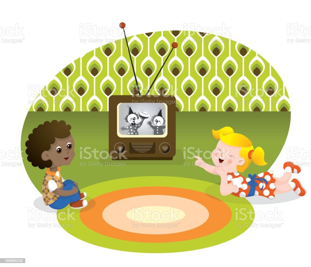 Watching retro television kids vector art illustration