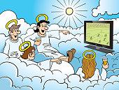 Watching Soccer in Heaven Cartoon