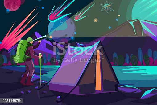 istock Watching stars at night in a camp 1281148754
