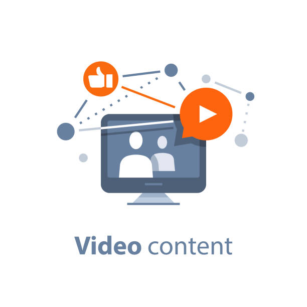 ilustrações de stock, clip art, desenhos animados e ícones de watching stream tv, video blogging, viral video, online education, learning courses - webinar anuncio