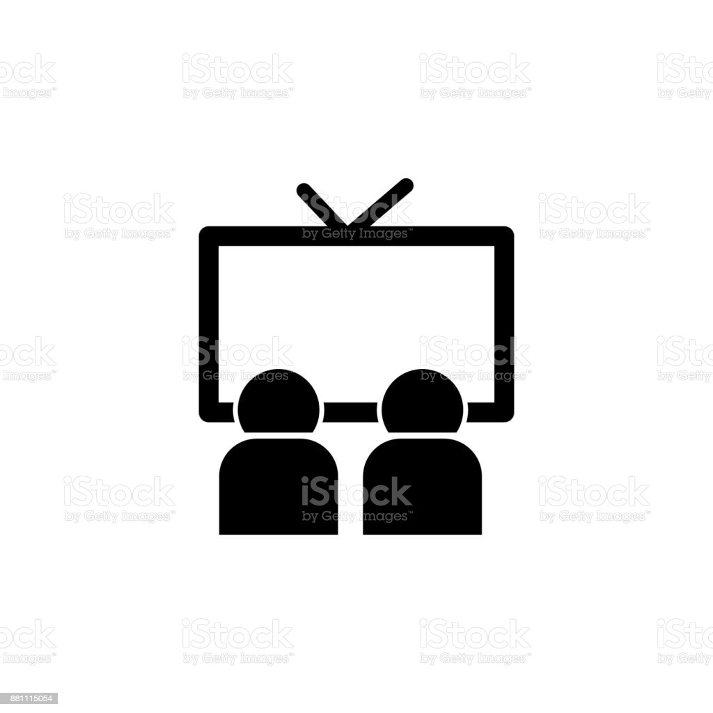 Watching Television Icon Media Element Icon Premium Quality Graphic