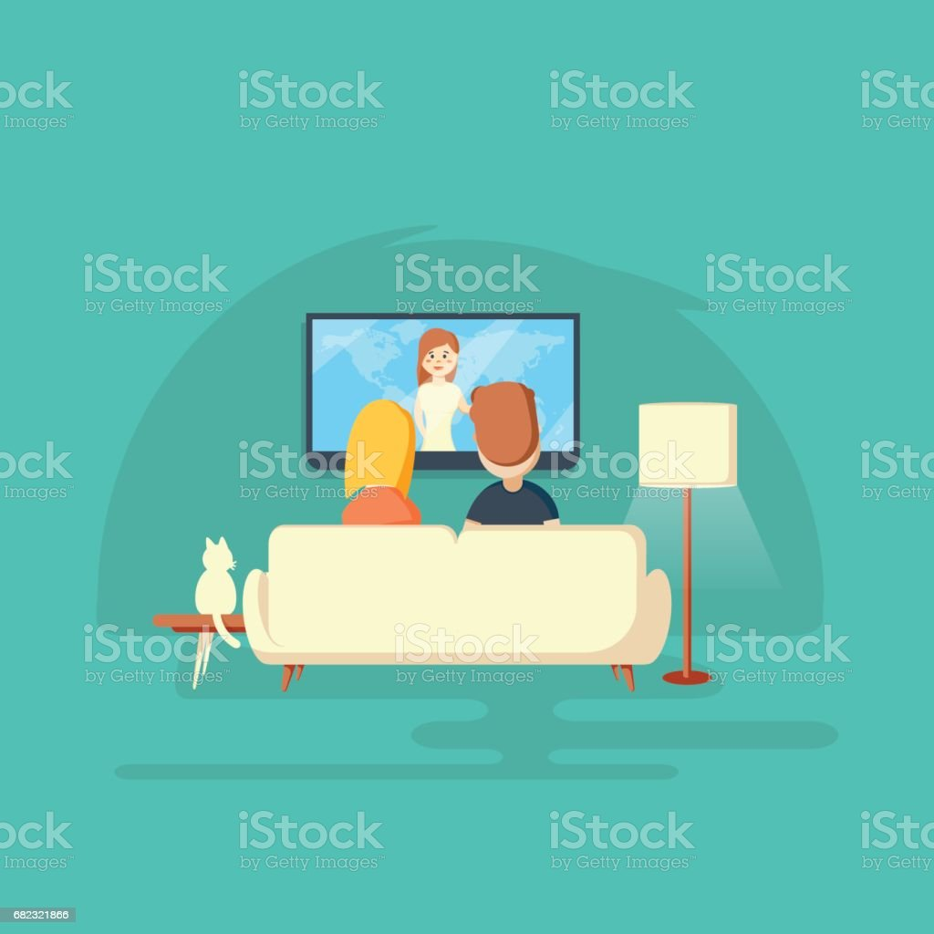 Watching TV at home. Man, woman and cat vector art illustration