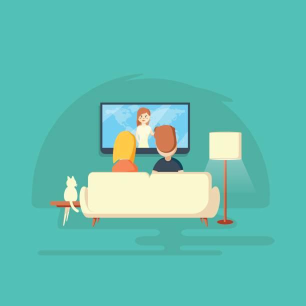 vor dem fernseher zu hause. mann, frau und katze - couch stock-grafiken, -clipart, -cartoons und -symbole
