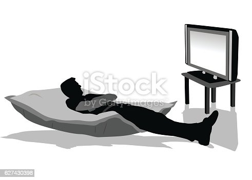 A vector silhouette illustration of a young adult laying down on an oversized pillow on the floor in the middle of a living room looking towards a tv.