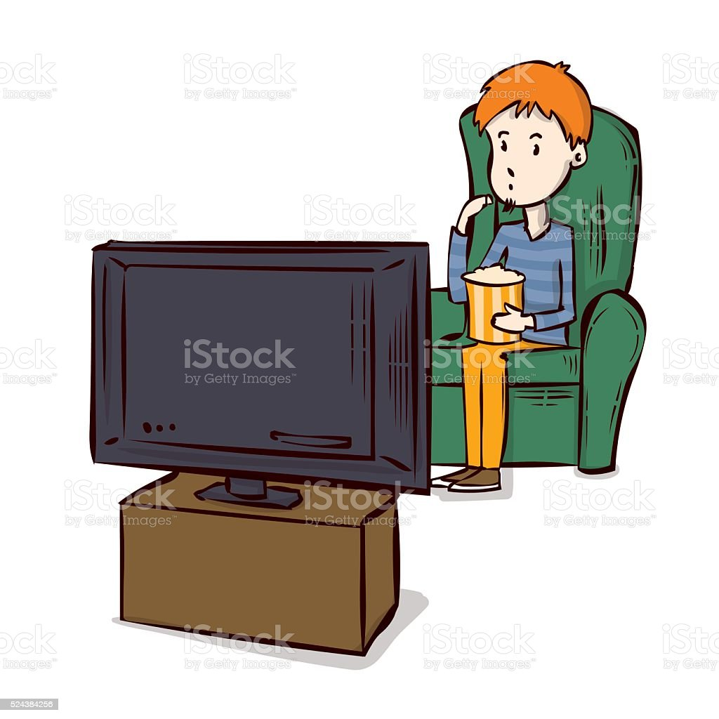 Watching Tv Hand Drawn Cartoon Vector Illustration Stock