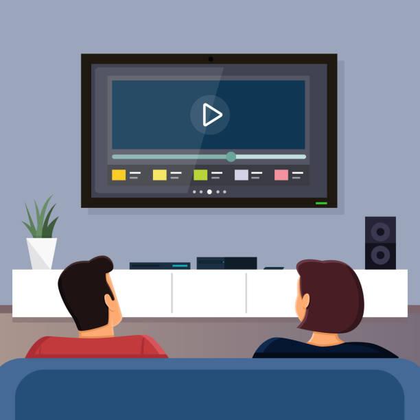 ilustrações de stock, clip art, desenhos animados e ícones de watching tv together - tv e familia e ecrã