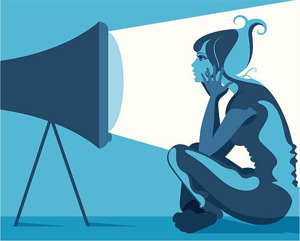 Oglądania telewizji. – artystyczna grafika wektorowa