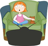 cute young girl watching tv with her Teddy - vector file