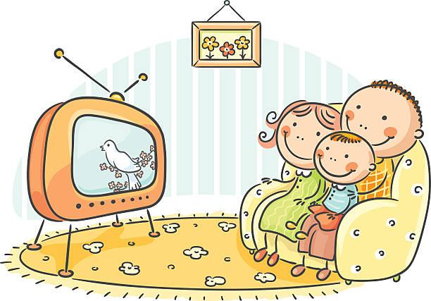 ilustrações de stock, clip art, desenhos animados e ícones de ver televisão - tv e familia e ecrã