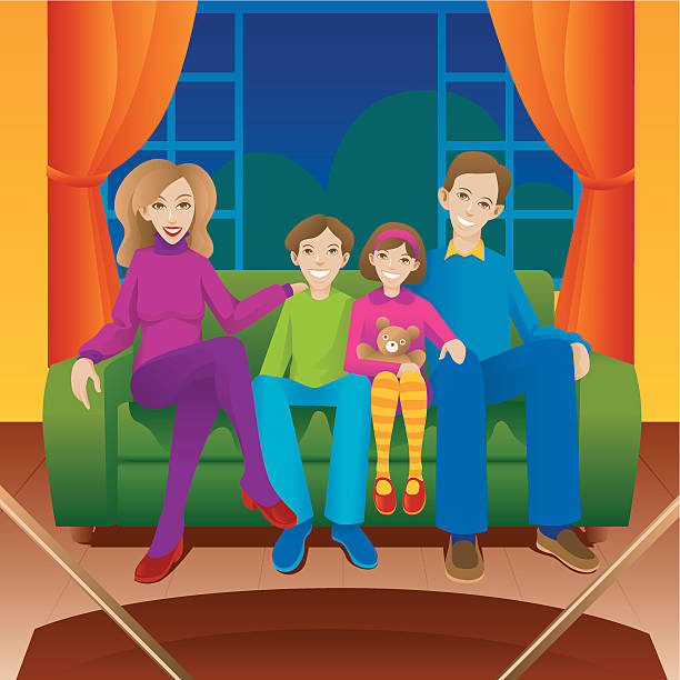 Watching TV  family watching tv stock illustrations