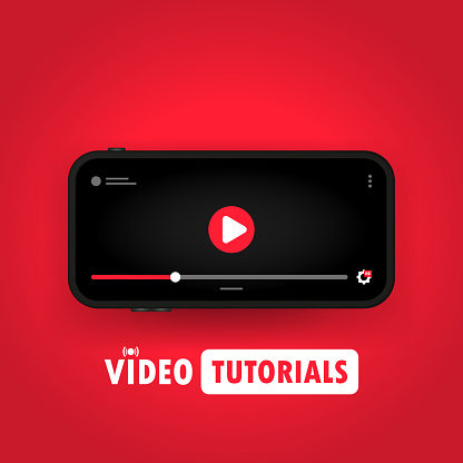 Watching video tutorials on smart phone illustration. Distance education. Online webinar, course, training. Vector on isolated background. EPS 10