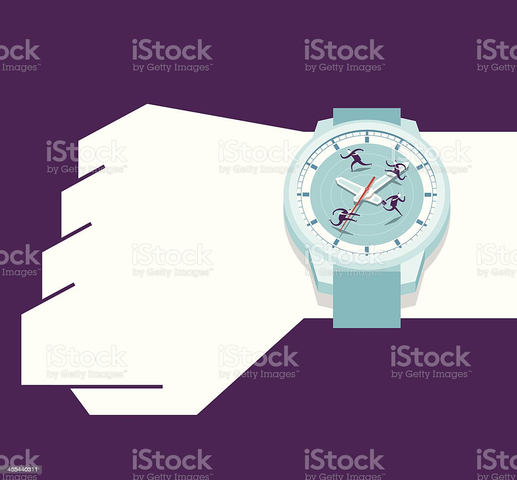 Watching your watch vector art illustration