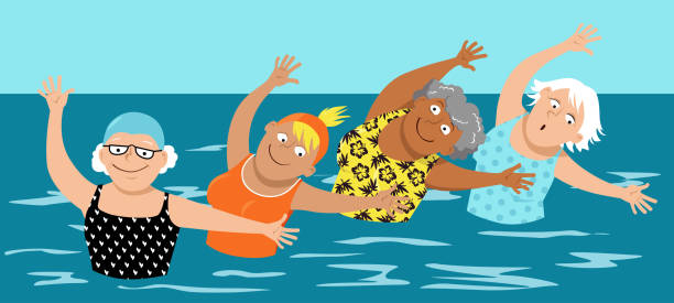 Water aerobic group vector art illustration