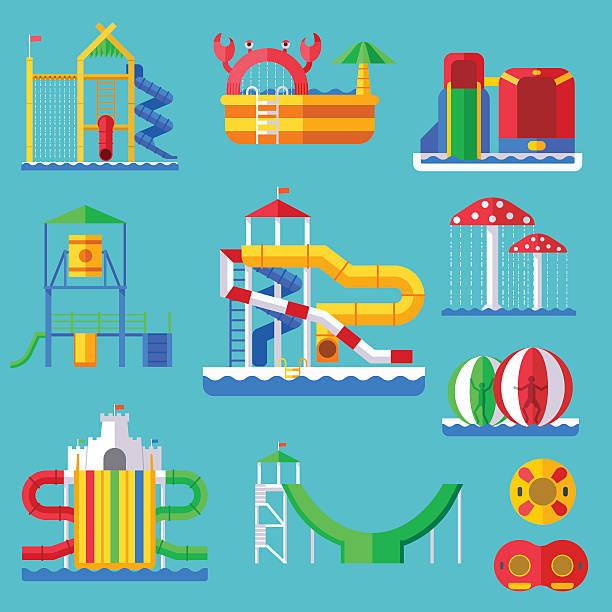 bildbanksillustrationer, clip art samt tecknat material och ikoner med water amusement aquapark playground with slides and splash pads for - akvatisk organism