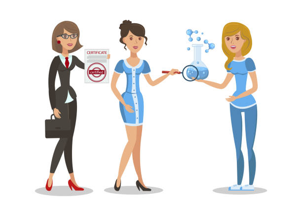 Water Analysis Certificate Vector Illustration Water Analysis Certificate Vector Illustration. Woman Holding Clean Blue Potable Liquid Sample. Tested Drinkable Fluid in Glass Flask. Cartoon Scientist Making Laboratory Bacteriological Research drawing of a glass liquor flask stock illustrations