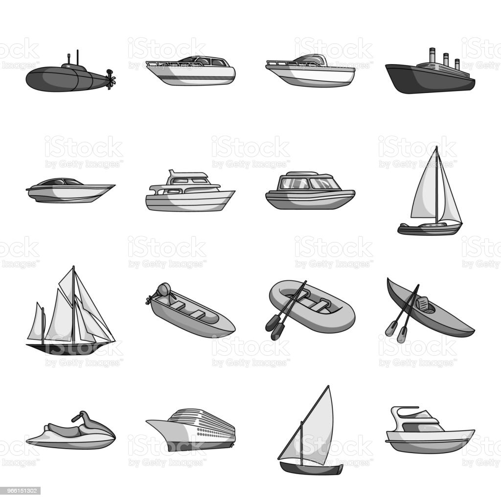 Water and sea transport monochrome icons in set collection for design. A variety of boats and ships vector symbol stock web illustration. - Векторная графика Без людей роялти-фри