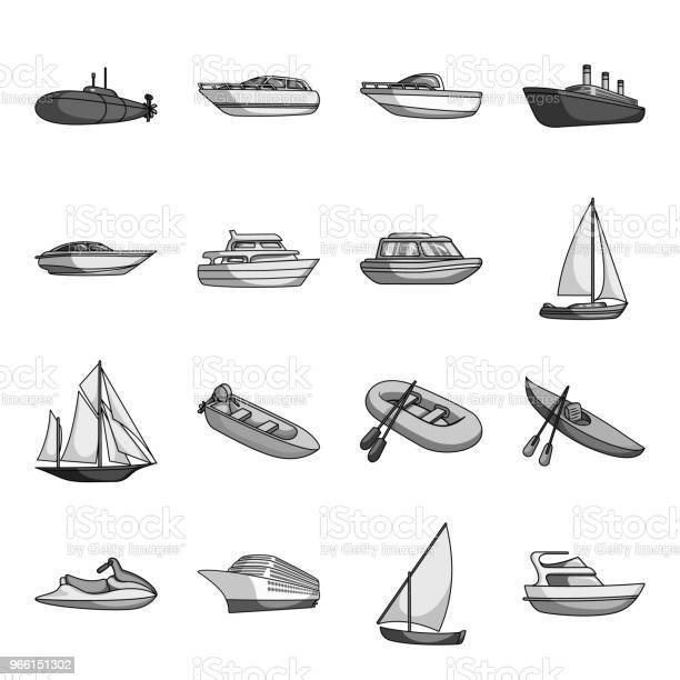 Water And Sea Transport Monochrome Icons In Set Collection For Design A Variety Of Boats And Ships Vector Symbol Stock Web Illustration — стоковая векторная графика и другие изображения на тему Без людей