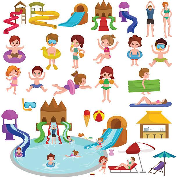 stockillustraties, clipart, cartoons en iconen met water aquapark playground with slides and splash pads for family - mini amusementpark