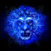 Water art lion