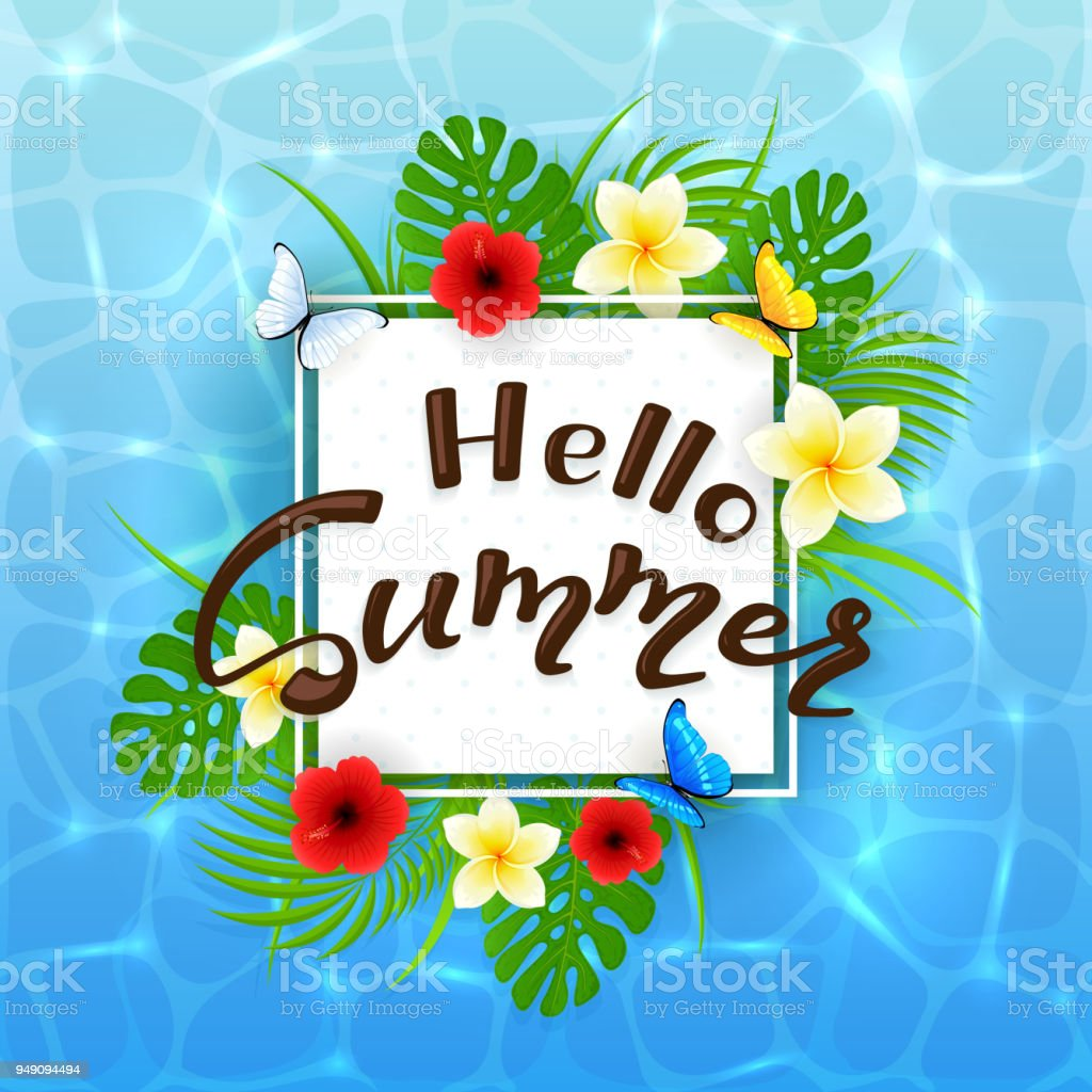 water background and text hello summer with flowers stock vector art