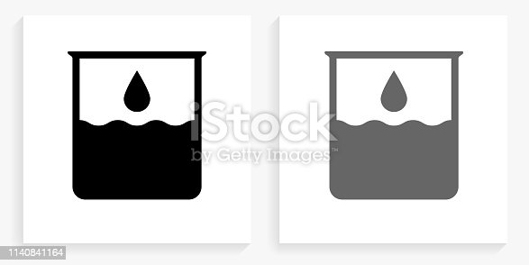 Water Beaker Black and White Square Icon. This 100% royalty free vector illustration is featuring the square button with a drop shadow and the main icon is depicted in black and in grey for a roll-over effect.
