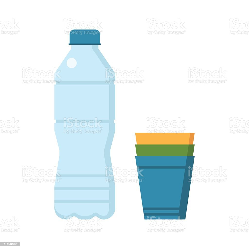 Water Bottle and Cups vector art illustration