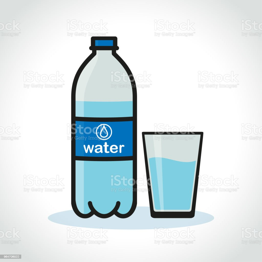 water bottle and glass on white background royalty-free water bottle and glass on white background stock illustration - download image now