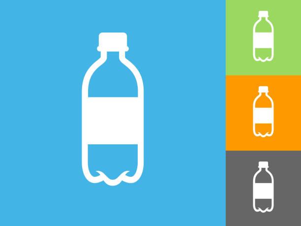 青の背景にウォーター ボトル フラット アイコン - ペットボトル点のイラスト素材/クリップアート素材/マンガ素材/アイコン素材